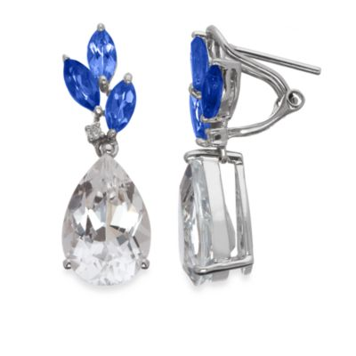 Created Blue Sapphire and White Quartz Drop Earrings