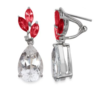 Eternities by Carol Brodie™ Created Ruby and White Quartz Drop Earrings