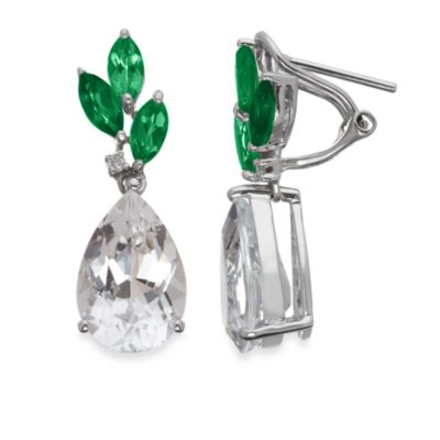 Eternities by Carol Brodie™ Green Agate and White Quartz Drop Earrings