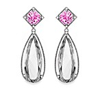 Eternities by Carol Brodie™ Created Pink Sapphire and White Quartz Large Drop Earrings