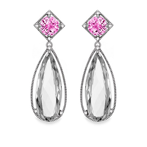 Created Pink Sapphire and White Quartz Large Drop Earrings