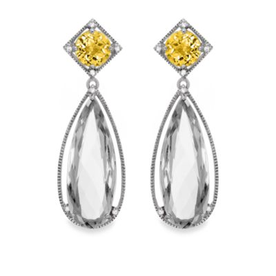 Eternities by Carol Brodie™ Honey Quartz and White Quartz Large Drop Earrings