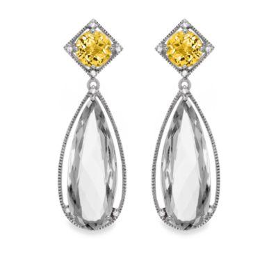 Honey Quartz and White Quartz Large Drop Earrings