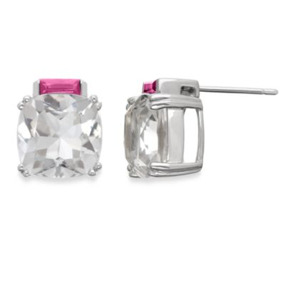 Eternities by Carol Brodie™ Everlasting Created Pink Sapphire and White Quartz Studs