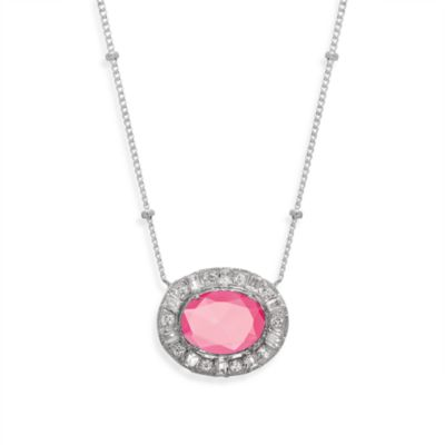 Everlasting Created Pink Sapphire and White Sapphire Oval Necklace