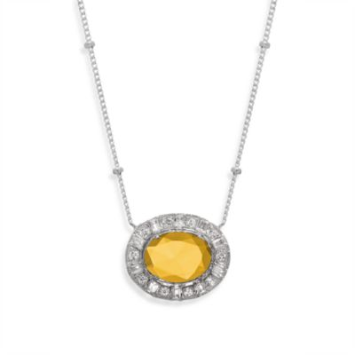 Eternities by Carol Brodie™ Everlasting Honey Quartz and Created White Sapphire Oval Necklace