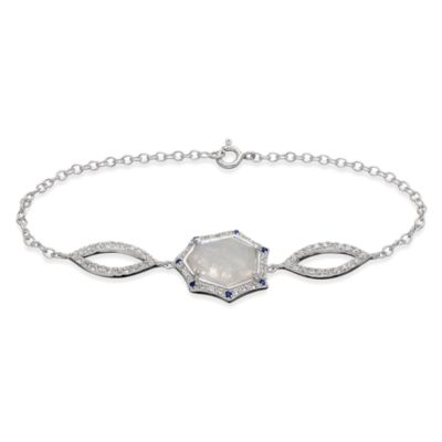 Eternities by Carol Brodie™ Rare Moonstone w/Created Blue and White Sapphire Tattoo Bracelet