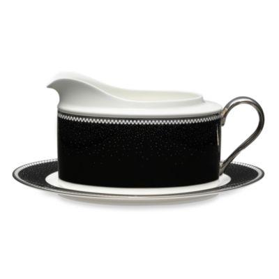 Black White Gravy Boat