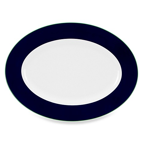 kate spade new york Hopscotch Drive Oval Platter in Navy