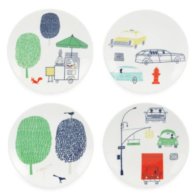 kate spade new york Hopscotch Porcelain 6-Inch Tidbit Plate (Set of 4)
