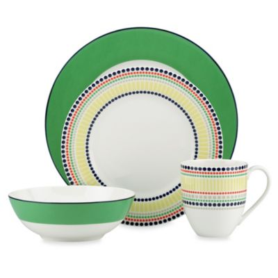 kate spade new york Hopscotch Drive™ Green Porcelain 4-Piece Place Setting