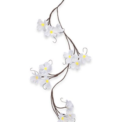 Battery Operated 6-Foot Wrapped Poppy Flower LED Lighted Garland in Brown