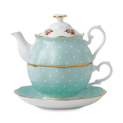 Royal Albert 3-Piece Tea Set for One in Polka Dot Roses