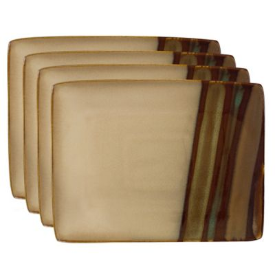 Sango Avanti 9-Inch x 7-Inch Rectangular 4-Piece Plate Set in Brown