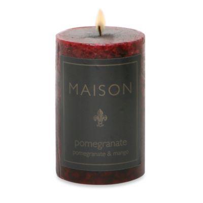 Maison Pomegranate 2-Inch x 3-Inch Pillar Candle