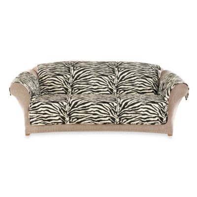 Sure Fit® Velvet Zebra Quilted Pet Throw