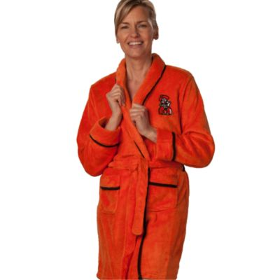 Oklahoma State University Large Ladies Fleece Bathrobe in Orange