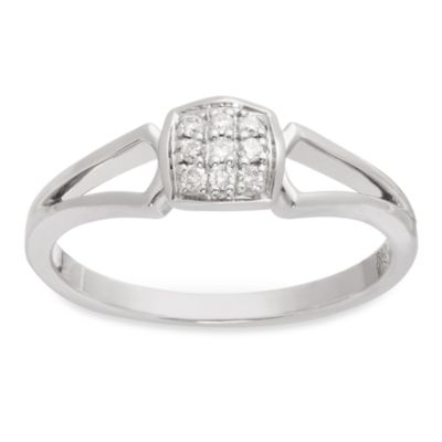 Badgley Mischka The Romantics.09 cttw Pave Diamond Size 5 Ring in Sterling Silver
