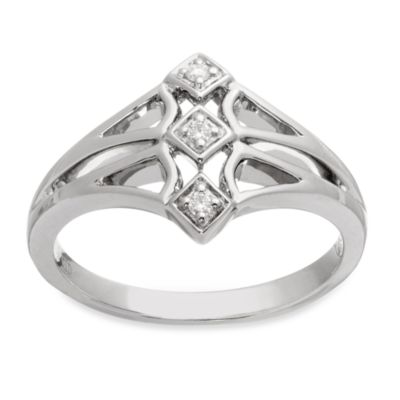 Badgley Mischka® Romantics Size 6, .05 cttw Diamond Heart Promise Ring in Sterling Silver
