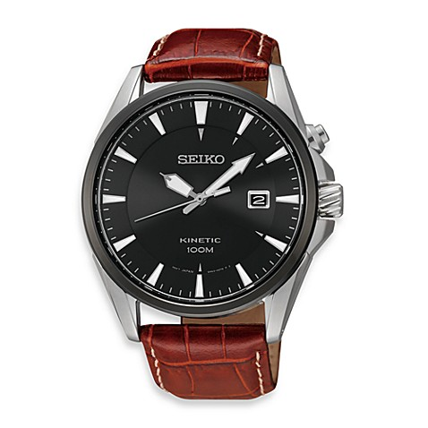 Seiko K in etic Men's Black Dial Leather Strap Watch