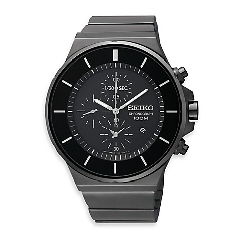 Seiko Men's Black Dial Chronograph Watch