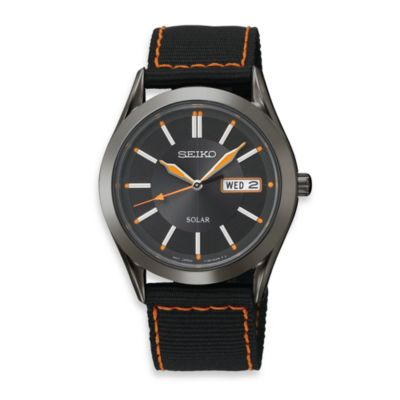 Seiko Men's Solar Black Dial Stainless Steel Watch with Nylon Strap