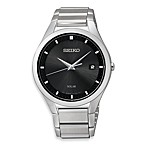 image of Seiko Men's Solar Black Dial Stainless Steel Watch