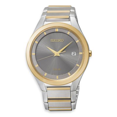 Seiko Men's Solar Silver Dial Two-Tone Stainless Steel Watch