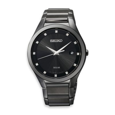 Seiko Men's Solar Black Dial Black Ion Stainless Steel Watch