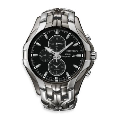 Seiko Men's Solar Black Dial Two-Tone Stainless Steel Watch
