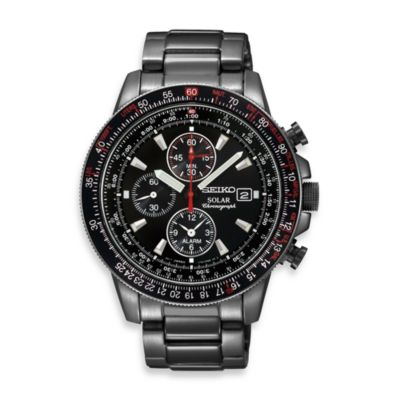 Seiko Men's Solar Stainless Steel Aviator Watch