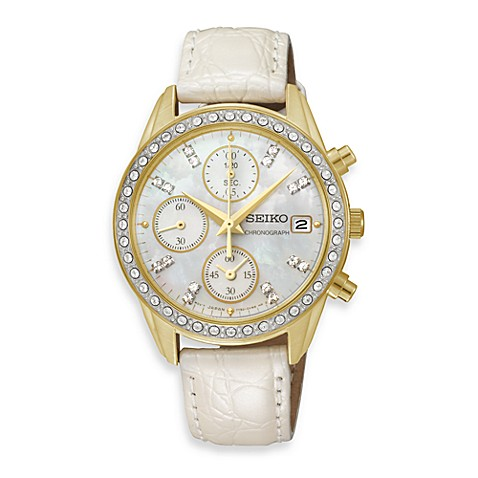 Seiko Ladies Crystal Chronograph Watch with Leather Band