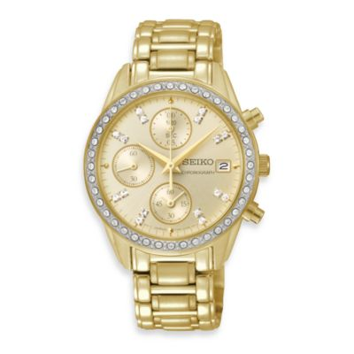 Seiko Ladies Gold-Tone Chronograph w/Crystals Watch