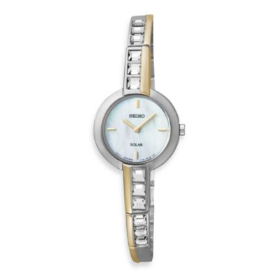 Seiko Ladies Two-Tone Solar w/Crystals Watch