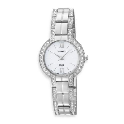 Seiko Ladies Stainless Steel Solar Modern Dress w/Crystals Watch