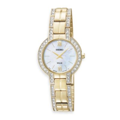 Seiko Ladies Goldtone Solar Modern w/Crystals Watch