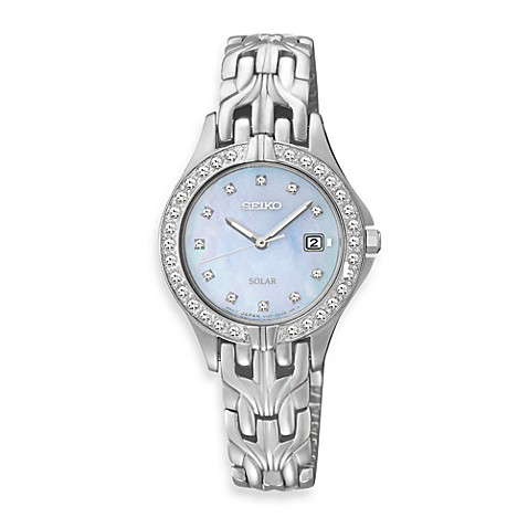 Seiko Ladies Stainless Steel Solar w/Crystals Watch