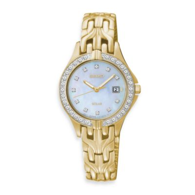 Seiko Ladies Goldtone Solar w/Crystals Watch