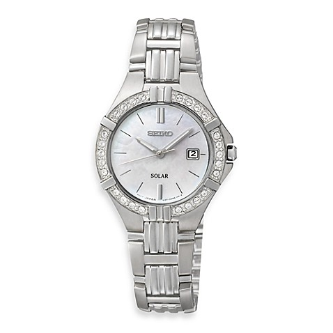 Seiko Ladies Stainless Steel Solar Sporty w/Crystals Watch