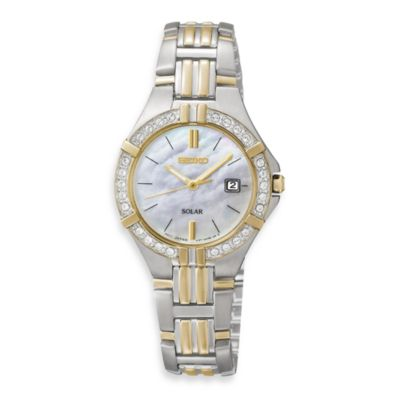 Seiko Ladies Two-Tone Solar Sporty w/Crystals Watch