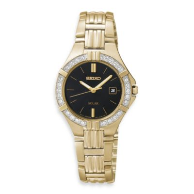 Seiko Ladies Goldtone Solar Sporty w/Crystals Watch