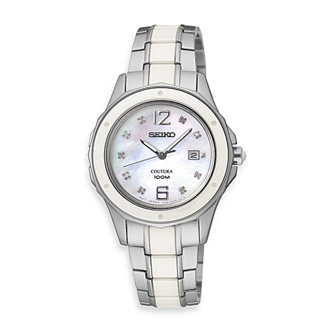 Seiko Coutura Ladies 100M Stainless Steel/Ceramic Watch