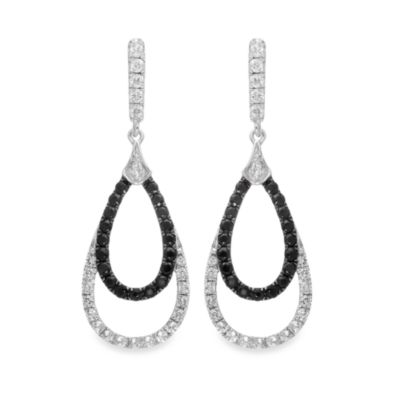 Badgley Mischka® Statement Chic White Topaz and Black Sapphire Sterling Silver Earrings