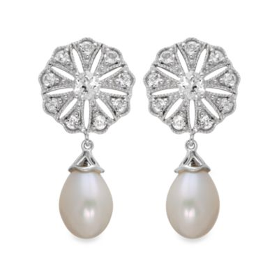Badgley Mischka® Vintage Elegance Sterling Silver Earrings