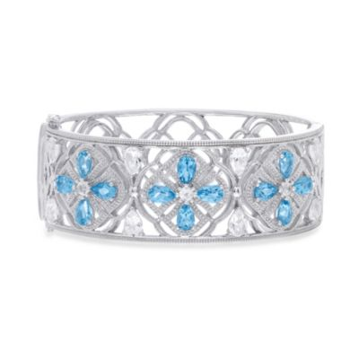 Badgley Mischka® Sterling Silver Blue and White Topaz Petal Perfect Bangle