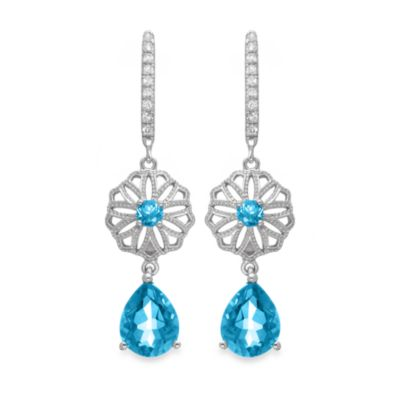 Badgley Mischka® Vintage Elegance Blue Topaz Sterling Silver Earrings