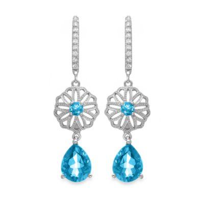 Badgley Mischka® Vintage Elegance Blue Topaz Sterling Silver Earrings