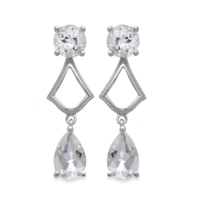 Badgley Mischka® Sterling Silver Statement Chic Earrings