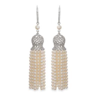 Badgley Mischka® Vintage Elegance Sterling Silver Tassel Earrings