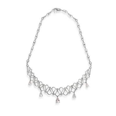 Badgley Mischka® Arabesque Topaz & Quartz Sterling Silver Necklace